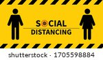 social distancing. keep the 1 2 ... | Shutterstock .eps vector #1705598884