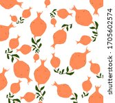 pattern with orange garnet on a ... | Shutterstock . vector #1705602574