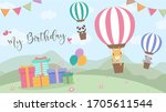 happy birthday cartoon card... | Shutterstock .eps vector #1705611544