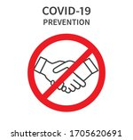 no handshake icon. do not touch ... | Shutterstock .eps vector #1705620691