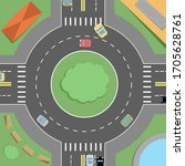 Roundabout With Cars With Road...