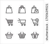 set of shopping vector line...