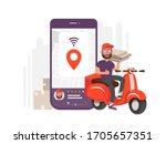 scooter with delivery man flat... | Shutterstock .eps vector #1705657351