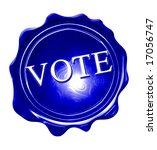 blue wax seal with vote written ... | Shutterstock . vector #17056747
