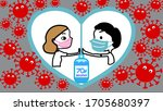 couple wearing face mask and... | Shutterstock .eps vector #1705680397