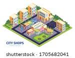 isometric shops city...   Shutterstock .eps vector #1705682041