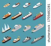 Ships Isometric Set With...