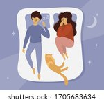 man snoring loudly in bed at... | Shutterstock .eps vector #1705683634