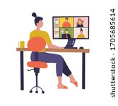 female worker using computer...   Shutterstock .eps vector #1705685614