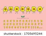 avocado summer font. funny... | Shutterstock .eps vector #1705695244