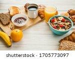 healthy breakfast set on wooden ... | Shutterstock . vector #1705773097