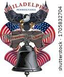 liberty bell in philadelphia ... | Shutterstock .eps vector #1705832704