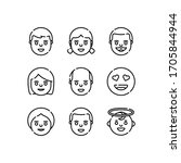 emoji icons set line   vector | Shutterstock .eps vector #1705844944