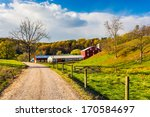 Red Barn Along Country Road In...
