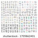 set of 200 hand lettering... | Shutterstock .eps vector #1705862401