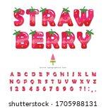 strawberry summer font. cartoon ... | Shutterstock .eps vector #1705988131