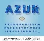 azure 3d glossy font. cartoon... | Shutterstock .eps vector #1705988134