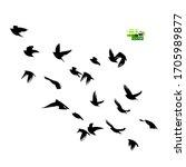 a flock of flying birds... | Shutterstock .eps vector #1705989877