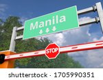 Road block near Manila, Philippines road sign. Coronavirus or some other disease quarantine related 3D rendering