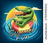 crocodile illustration cartoon... | Shutterstock .eps vector #1705990531
