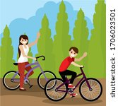 couple riding a bicycle over a... | Shutterstock .eps vector #1706023501