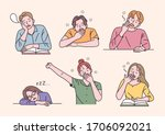 students are sitting at the... | Shutterstock .eps vector #1706092021