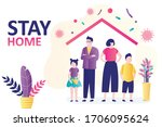 stay home banner. family at... | Shutterstock .eps vector #1706095624