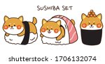 set of shiba inu sushi hand... | Shutterstock .eps vector #1706132074