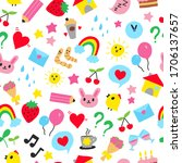 cute icons seamless pattern.... | Shutterstock .eps vector #1706137657