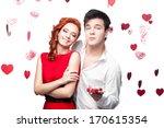 caucasian young happy couple... | Shutterstock . vector #170615354