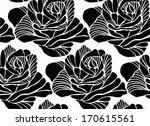 black silhouette of rose... | Shutterstock .eps vector #170615561