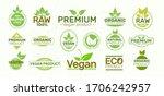 set of eco labels   organic ... | Shutterstock .eps vector #1706242957
