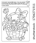 coloring book flower basket... | Shutterstock .eps vector #1706271511