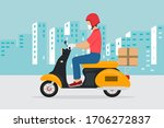 delivery man on a motorcycle... | Shutterstock .eps vector #1706272837