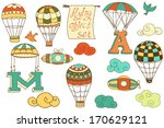 flying objects set with hot air ... | Shutterstock .eps vector #170629121