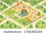 isometric playground with... | Shutterstock . vector #1706303254