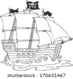 black and white pirate ship... | Shutterstock . vector #170631467