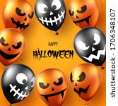 halloween background with scary ... | Shutterstock .eps vector #1706348107