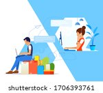 support manager with headset... | Shutterstock .eps vector #1706393761