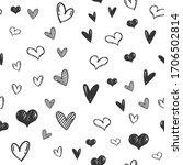 heart doodles seamless pattern. ... | Shutterstock .eps vector #1706502814
