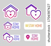 stay home vector illustration... | Shutterstock .eps vector #1706587627