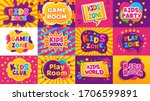 kids game zone banner. children ... | Shutterstock .eps vector #1706599891