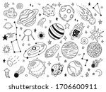 space doodles. sketch space... | Shutterstock .eps vector #1706600911