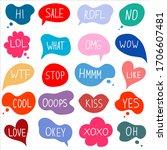 hand draw  big set bubble talk... | Shutterstock .eps vector #1706607481