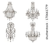 set of four chandelier drawings ...