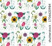 spring garden seamless pattern... | Shutterstock . vector #1706620984