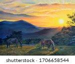Original Oil Painting. Mountain ...