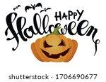 happy halloween. scary pumpkin  ...   Shutterstock .eps vector #1706690677