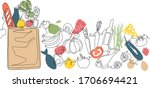 background with paper grocery...   Shutterstock .eps vector #1706694421