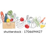 background with grocery bag and ...   Shutterstock .eps vector #1706694427